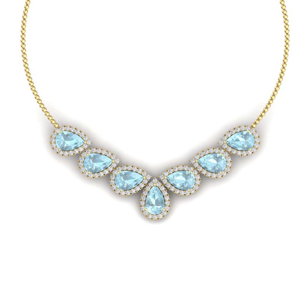 36.24 ctw Sky Topaz & VS Diamond Necklace 18K Yellow Gold - REF-527X3R - SKU:38837