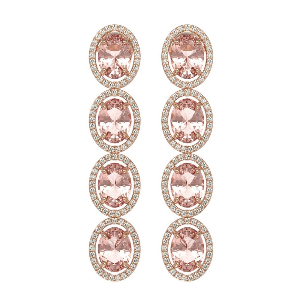 11.4 ctw Morganite & Diamond Halo Earrings 10K Rose Gold - REF-269K3W - SKU:40758