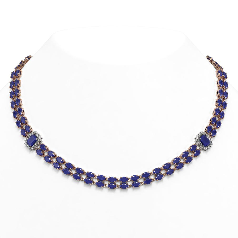 63.33 ctw Sapphire & Diamond Necklace 14K Rose Gold - REF-513N6A - SKU:45087