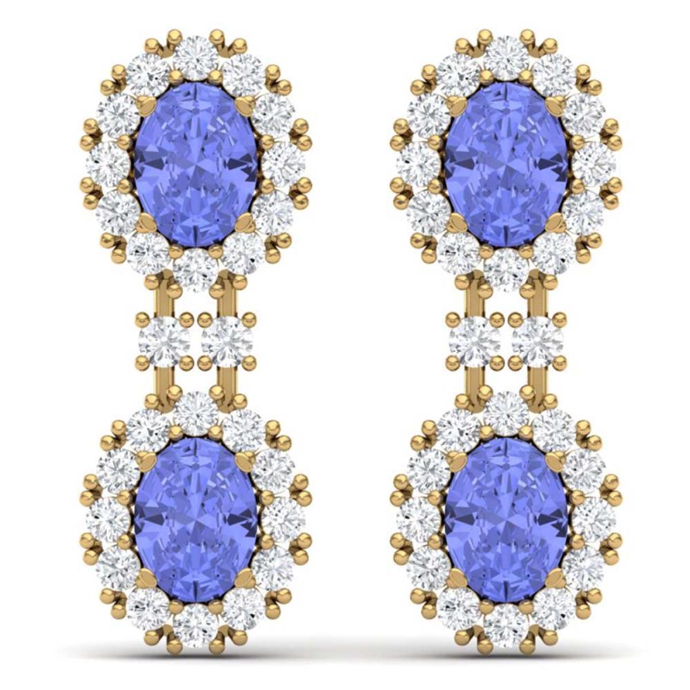 8.35 ctw Tanzanite & VS Diamond Earrings 18K Yellow Gold - REF-263A6V - SKU:38819