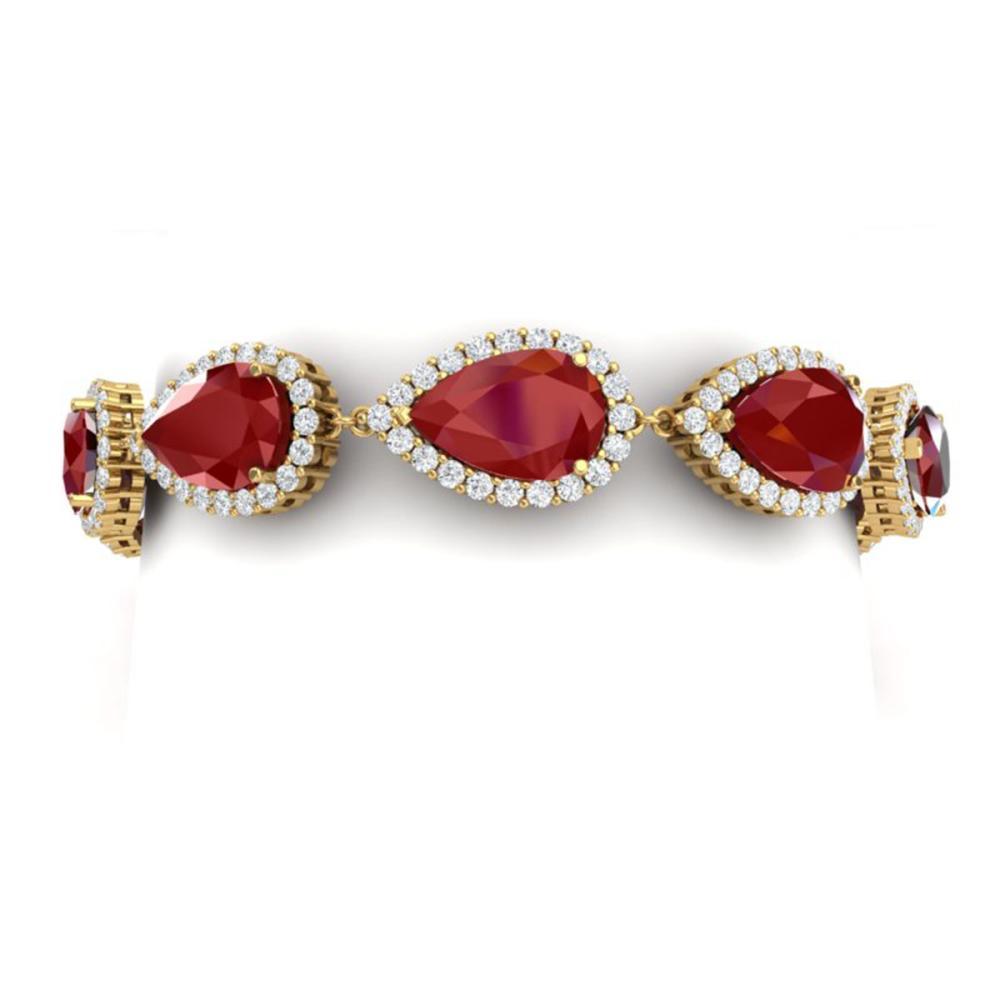 42 ctw Ruby & VS Diamond Bracelet 18K Yellow Gold - REF-600F2N - SKU:38861