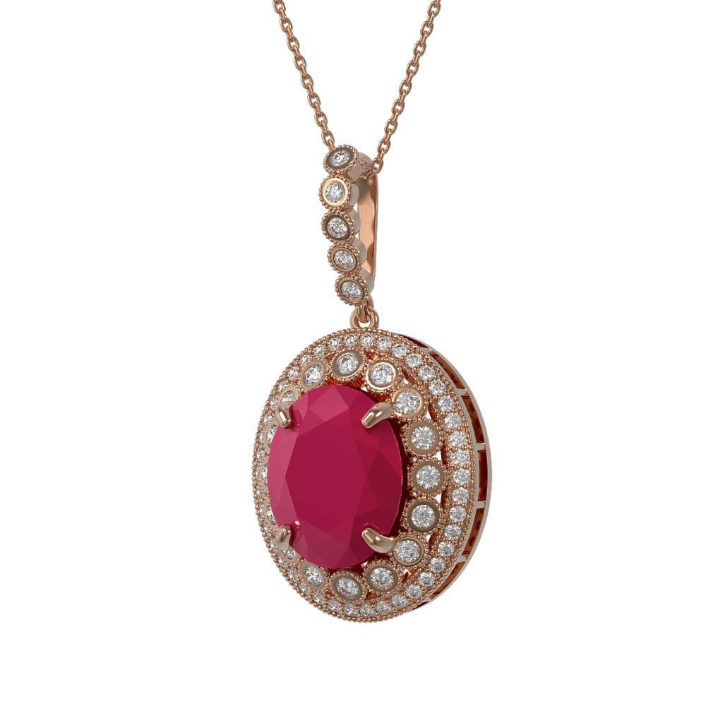13.75 ctw Ruby & Diamond Necklace 14K Rose Gold - REF-278N2A - SKU:43863