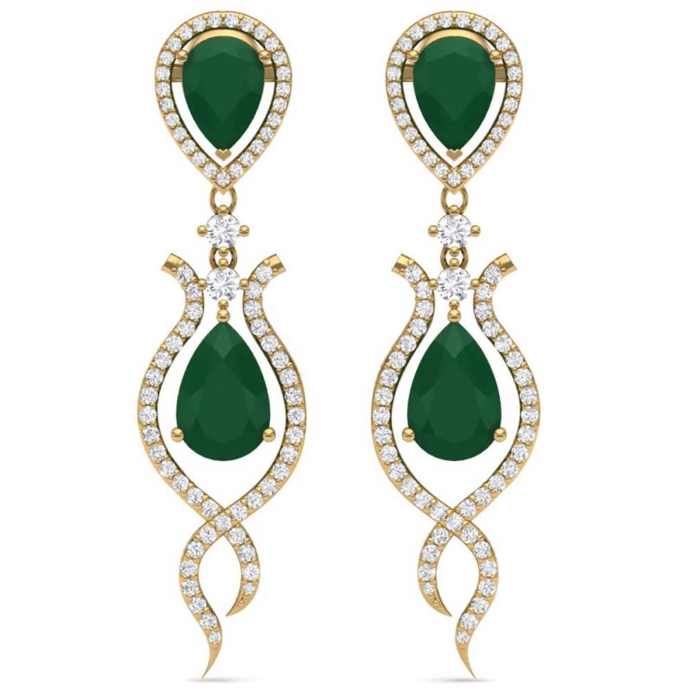 16.57 ctw Emerald & VS Diamond Earrings 18K Yellow Gold - REF-345R5K - SKU:39512