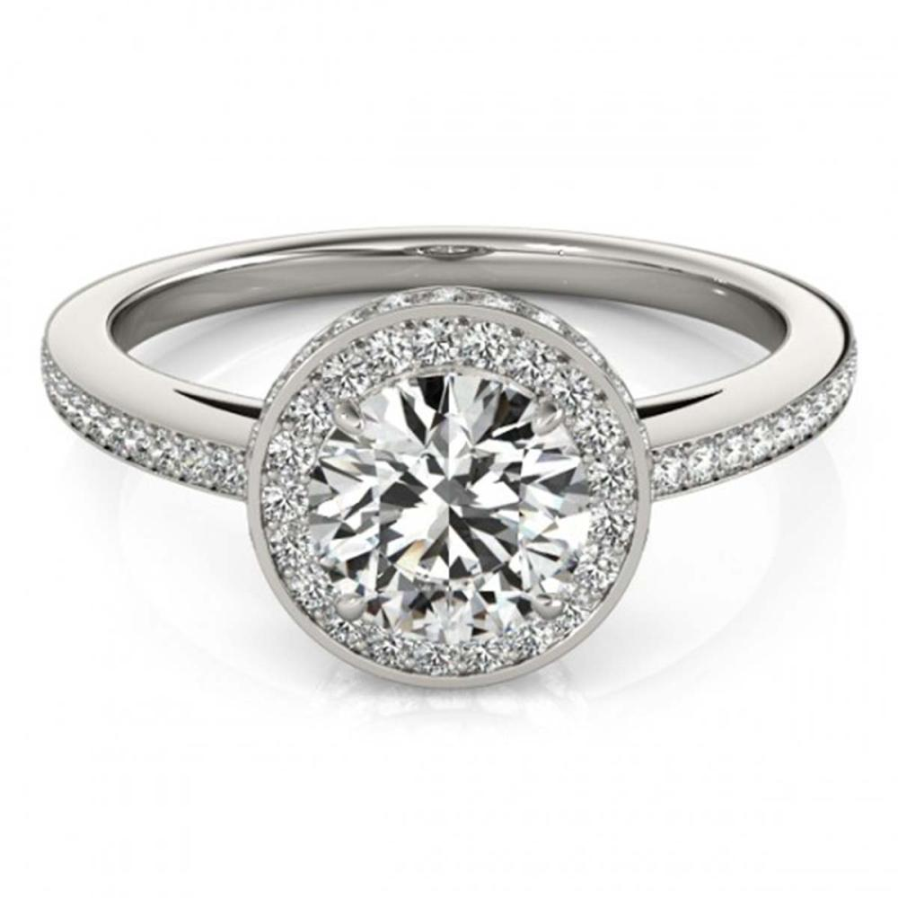 1.25 ctw VS/SI Diamond Halo Ring 18K White Gold - REF-170W3H - SKU:26919