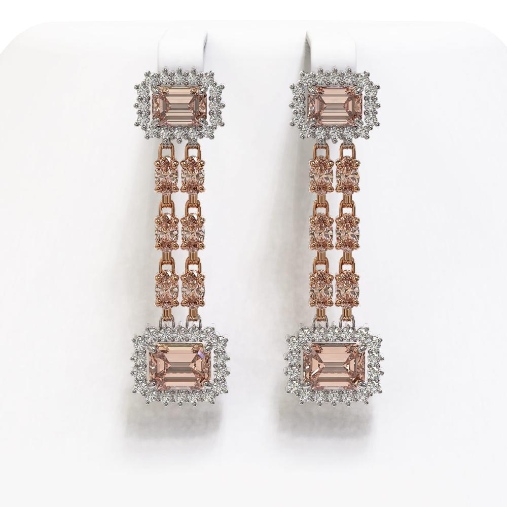 10.92 ctw Morganite & Diamond Earrings 14K Rose Gold - REF-290V5Y - SKU:45207