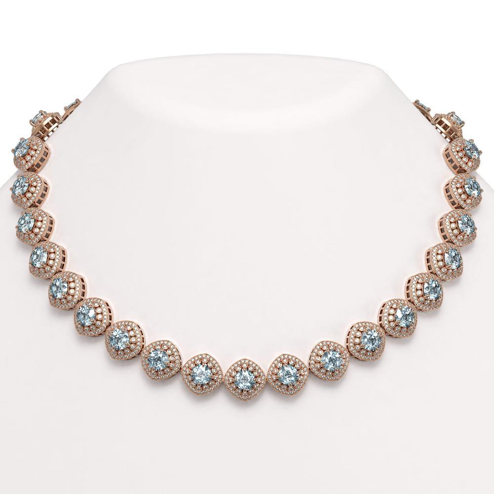 72.27 ctw Aquamarine & Diamond Necklace 14K Rose Gold - REF-2169W8H - SKU:44109