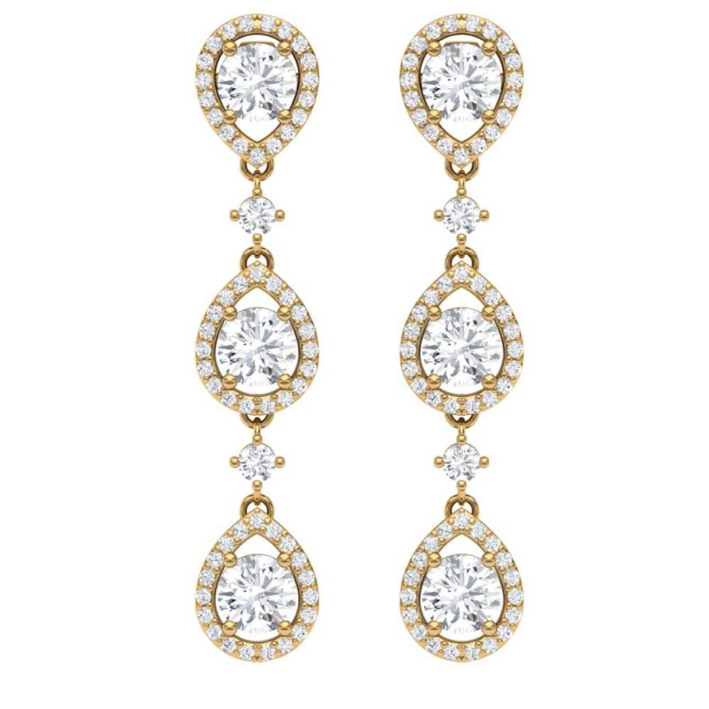 4.45 ctw VS/SI Diamond Earrings 18K Yellow Gold - REF-590F9N - SKU:39107