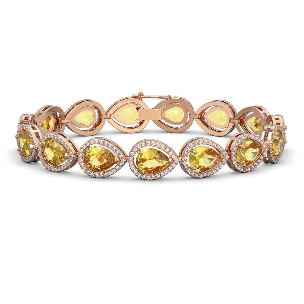 17.3 ctw Fancy Citrine & Diamond Halo Bracelet 10K Rose Gold - REF-282V9Y - SKU:41277