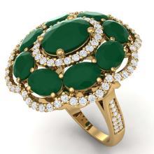 Lot 5121: 14.4 ctw Emerald & VS Diamond Ring 18K Yellow Gold - REF-300R2K - SKU:39185