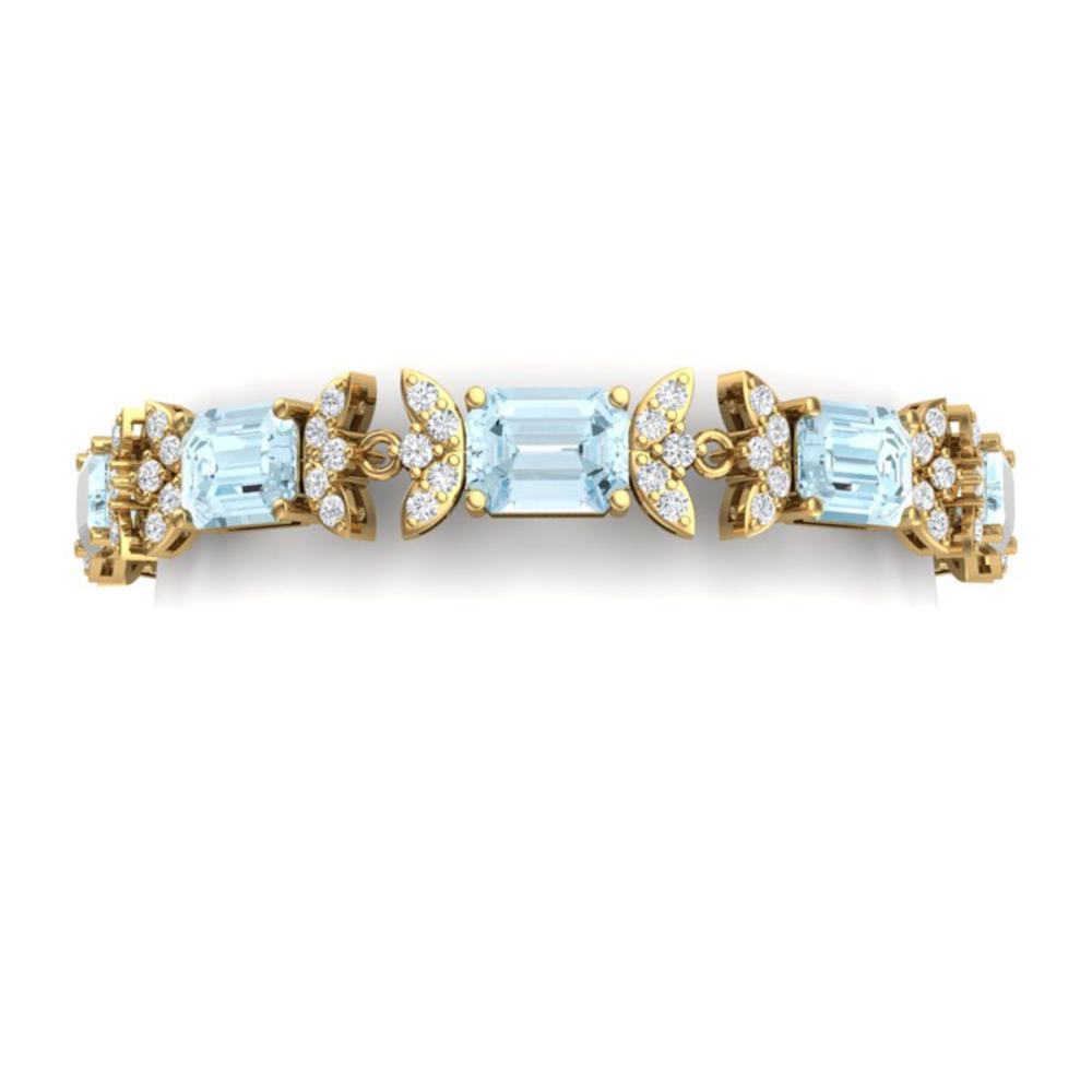39.65 ctw Sky Topaz & VS Diamond Bracelet 18K Yellow Gold - REF-400F2N - SKU:39401