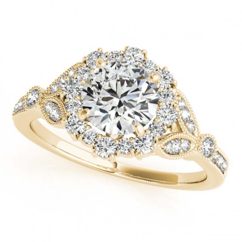 1 ctw VS/SI Diamond Halo Ring 18K Yellow Gold - REF-119X4R - SKU:26532
