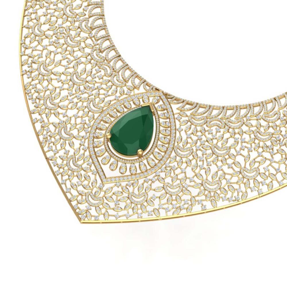 63.93 ctw Emerald & VS Diamond Necklace 18K Yellow Gold - REF-2690X9R - SKU:39572