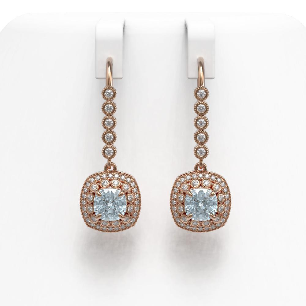 4.5 ctw Aquamarine & Diamond Earrings 14K Rose Gold - REF-147Y6X - SKU:44061