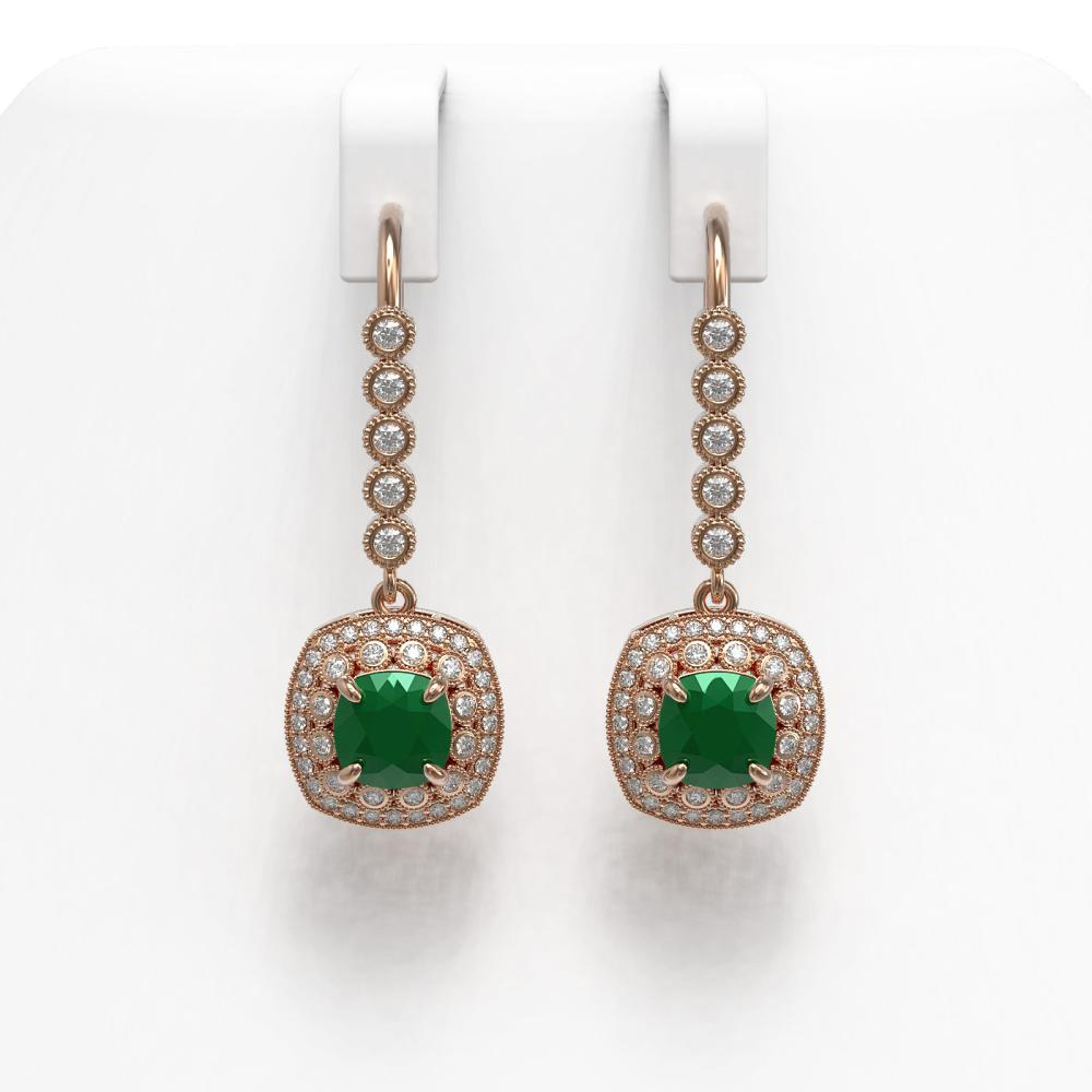 Lot 5129: 5.1 ctw Emerald & Diamond Earrings 14K Rose Gold - REF-144A4V - SKU:44049
