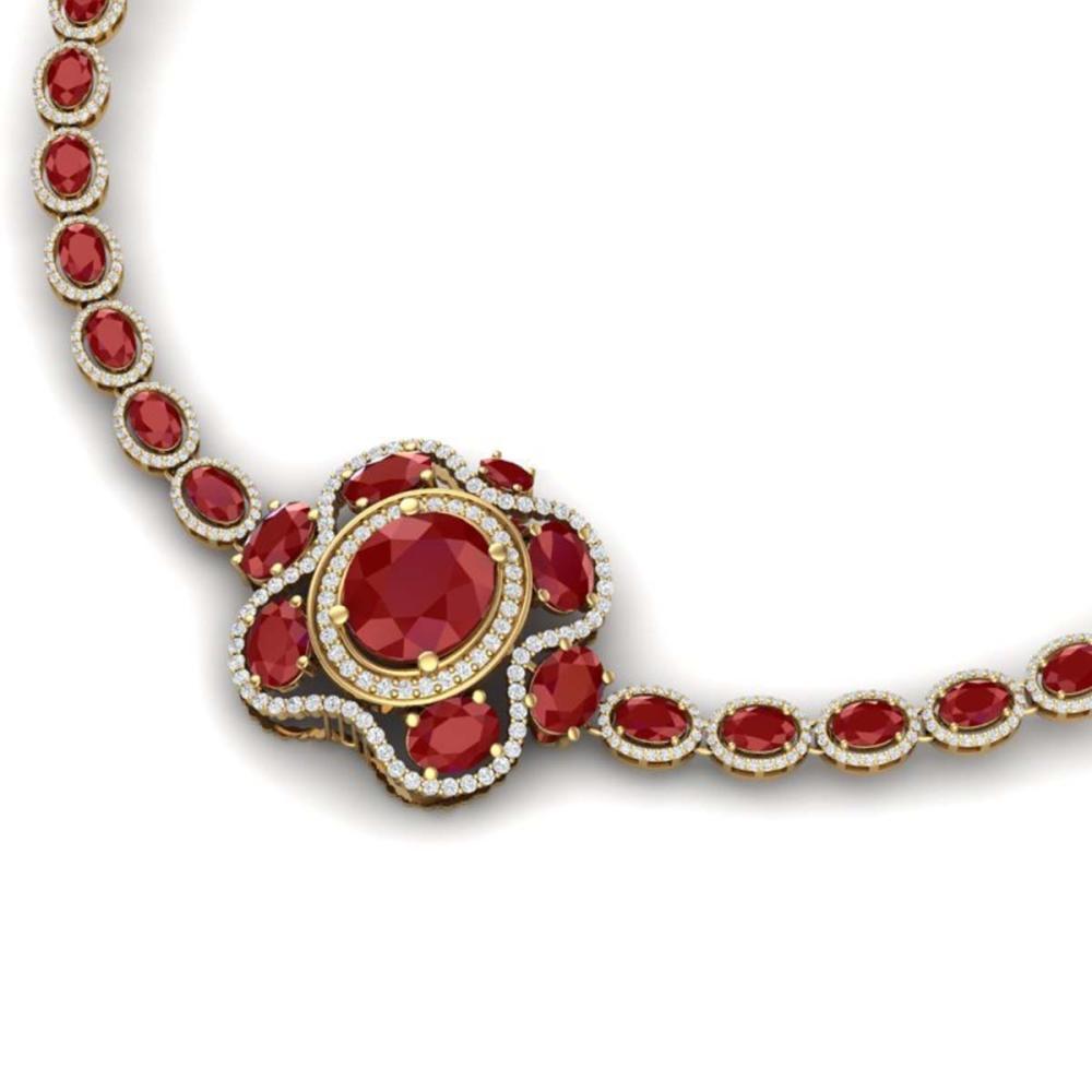 47.43 ctw Ruby & VS Diamond Necklace 18K Yellow Gold - REF-1072K7W - SKU:39332