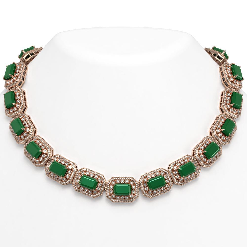 137.65 ctw Emerald & Diamond Necklace 14K Rose Gold - REF-2875W6H - SKU:43461