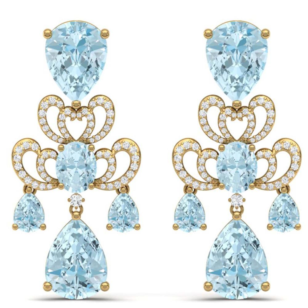 60.32 ctw Sky Topaz & VS Diamond Earrings 18K Yellow Gold - REF-400H2M - SKU:38681