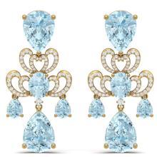 Lot 5136: 60.32 ctw Sky Topaz & VS Diamond Earrings 18K Yellow Gold - REF-400H2M - SKU:38681