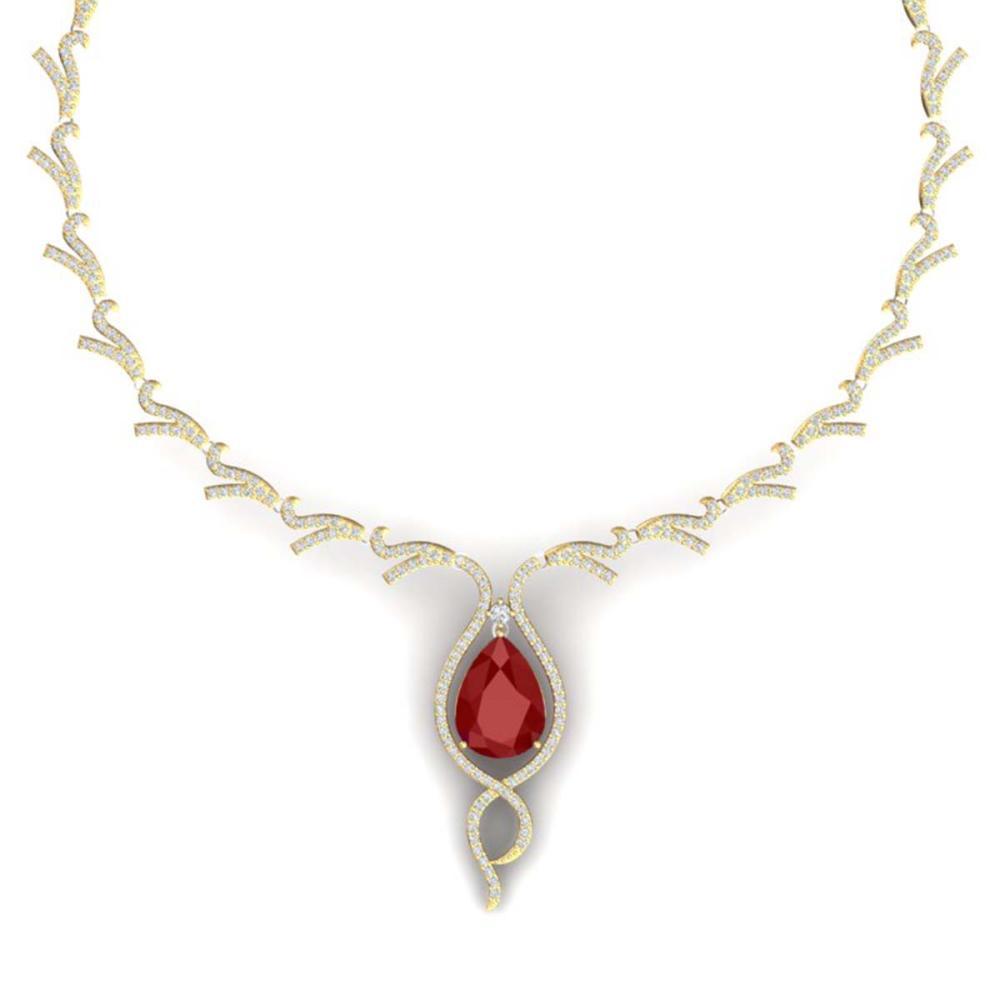 23.43 ctw Ruby & VS Diamond Necklace 18K Yellow Gold - REF-890A9V - SKU:39500