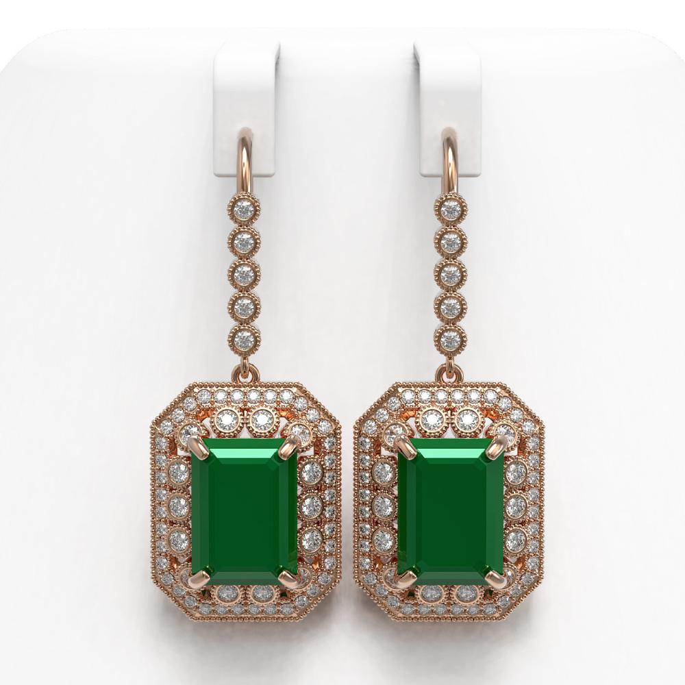 23.79 ctw Emerald & Diamond Earrings 14K Rose Gold - REF-499M5F - SKU:43521