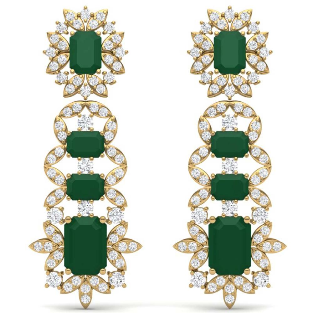 30.25 ctw Emerald & VS Diamond Earrings 18K Yellow Gold - REF-618F2N - SKU:39407