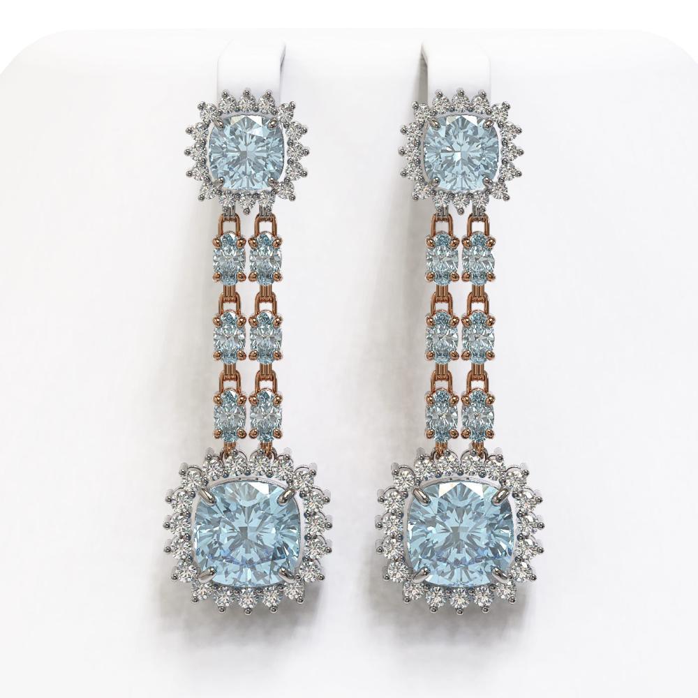 19.64 ctw Sky Topaz & Diamond Earrings 14K Rose Gold - REF-222N5A - SKU:44940