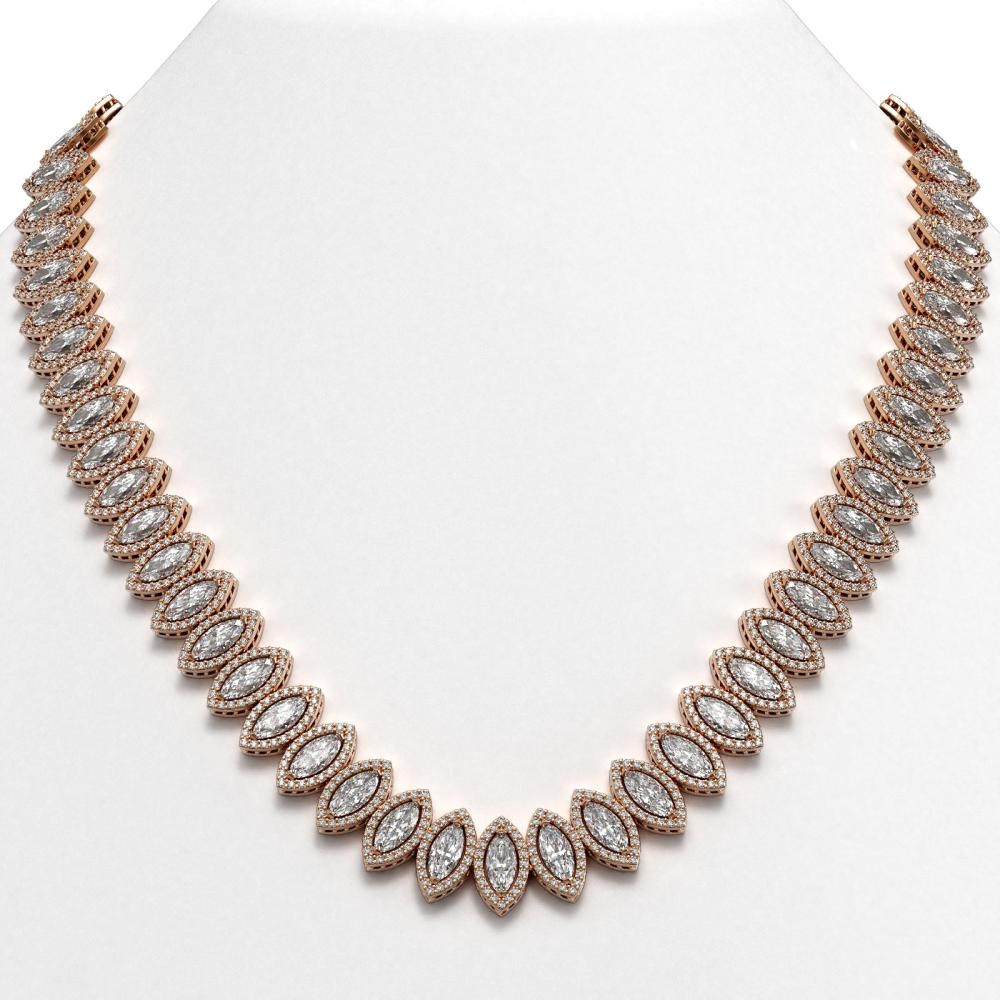 47.12 ctw Marquise Diamond Necklace 18K Rose Gold - REF-6554W6H - SKU:42831