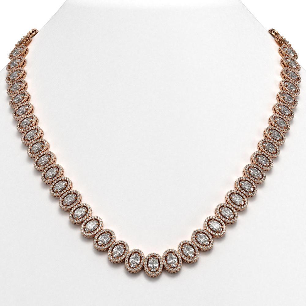 42.56 ctw Oval Diamond Necklace 18K Rose Gold - REF-5876W9H - SKU:42813