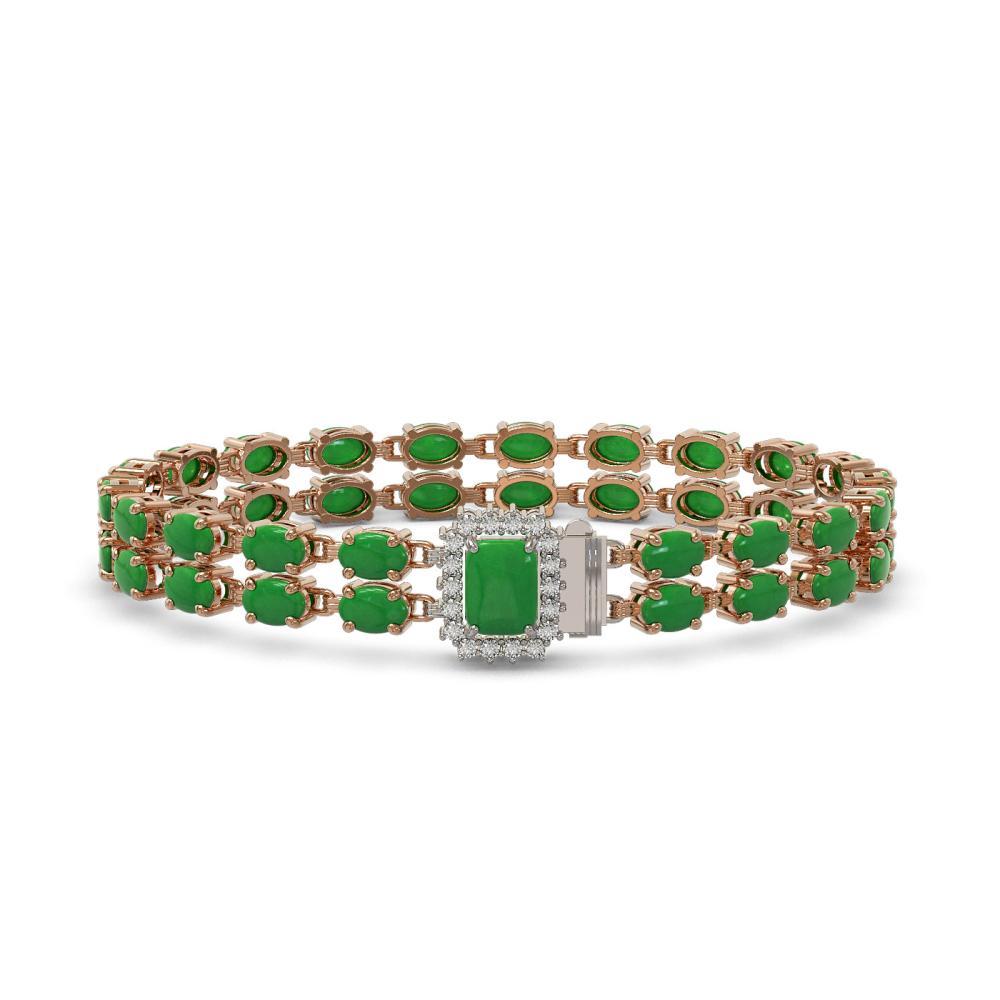 28.76 ctw Jade & Diamond Bracelet 14K Rose Gold - REF-190W9H - SKU:45819