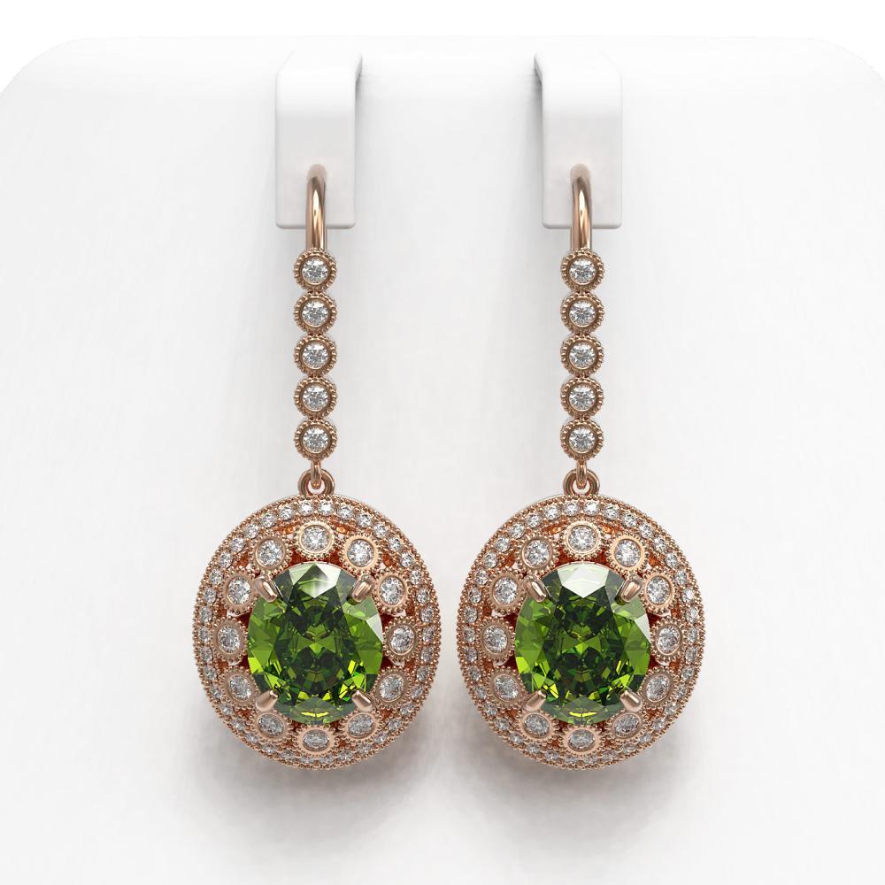 15.02 ctw Tourmaline & Diamond Earrings 14K Rose Gold - REF-401A6V - SKU:43785