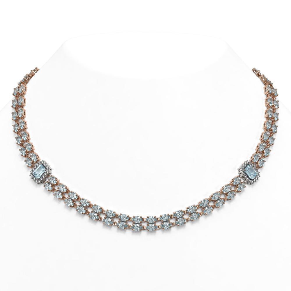 44.4 ctw Aquamarine & Diamond Necklace 14K Rose Gold - REF-619W5H - SKU:45105
