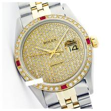 Lot 5167: Rolex Men's Two Tone 14K Gold/SS, QuickSet, Diam Pave Dial & Diam/Ruby Bezel - REF-665X4Y