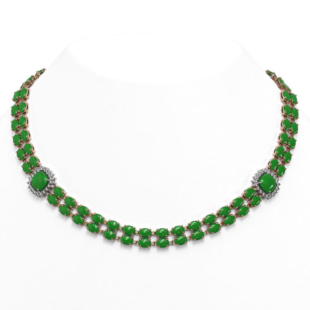 70.15 ctw Jade & Diamond Necklace 14K Rose Gold - REF-472W5H - SKU:44850