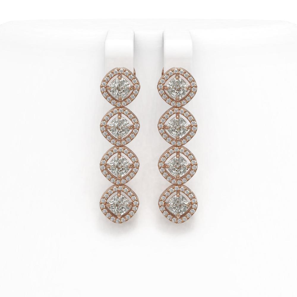 4.52 ctw Cushion Diamond Earrings 18K Rose Gold - REF-384A5V - SKU:43107