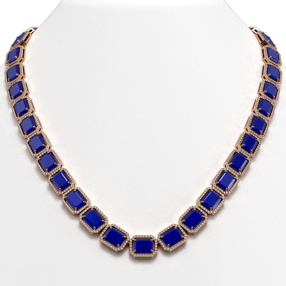 84.94 ctw Sapphire & Diamond Halo Necklace 10K Rose Gold - REF-859N5A - SKU:41481