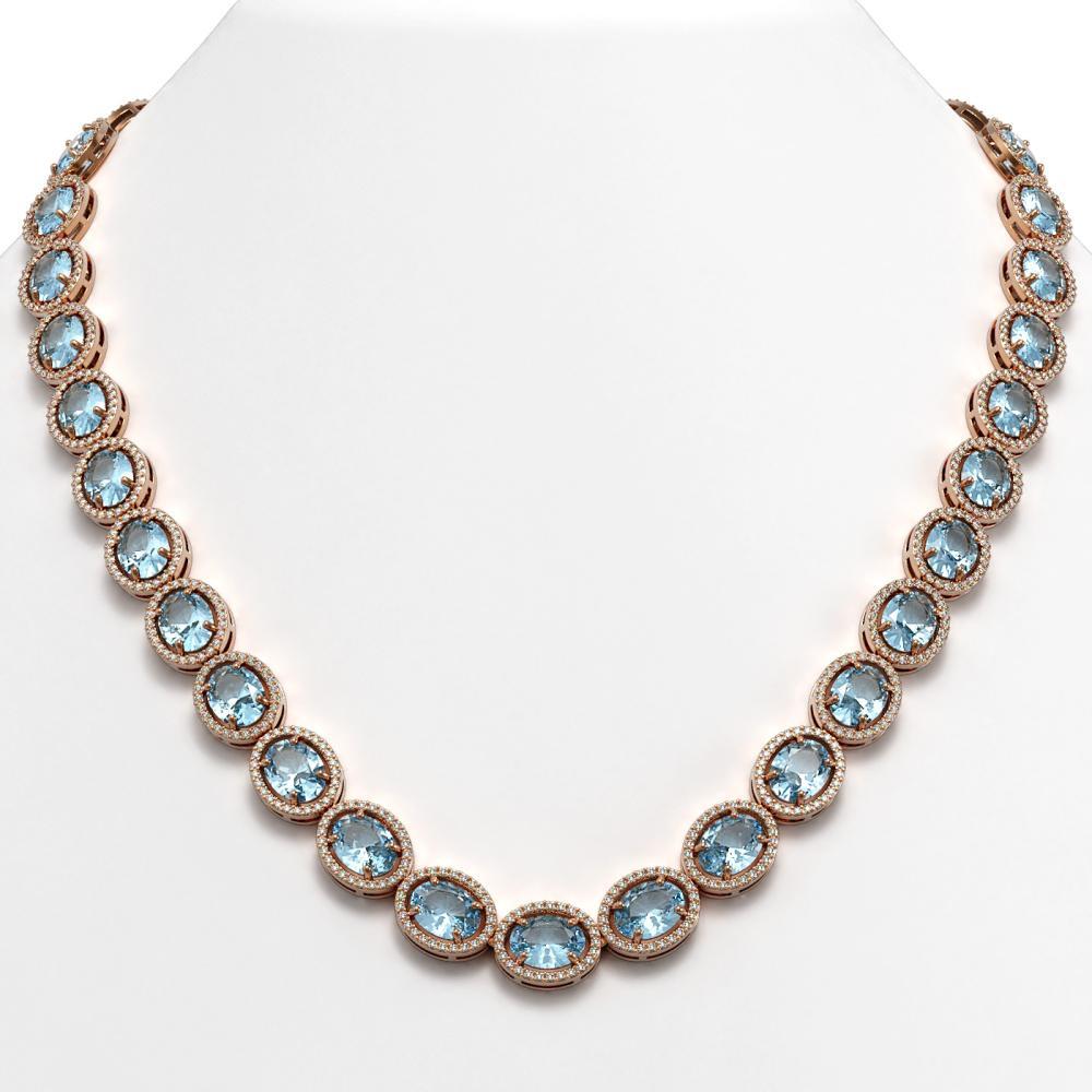 68.17 ctw Sky Topaz & Diamond Halo Necklace 10K Rose Gold - REF-654H5M - SKU:40680
