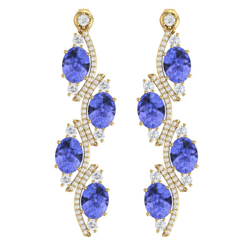 16.23 ctw Tanzanite & VS Diamond Earrings 18K Yellow Gold - REF-354V5Y - SKU:38987