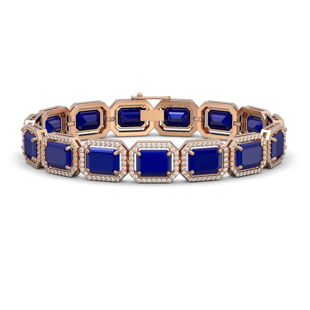 Lot 5175: 38.61 ctw Sapphire & Diamond Halo Bracelet 10K Rose Gold - REF-392N4A - SKU:41529