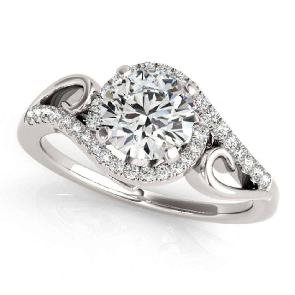 1.25 ctw VS/SI Diamond Solitaire Halo Ring 18K White Gold - REF-277K3W - SKU:26857