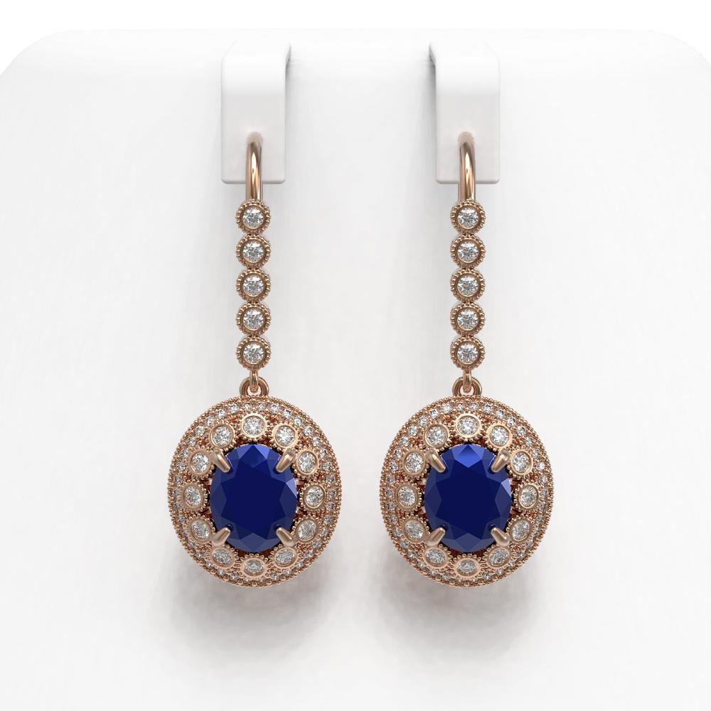 9.25 ctw Sapphire & Diamond Earrings 14K Rose Gold - REF-243V5Y - SKU:43608