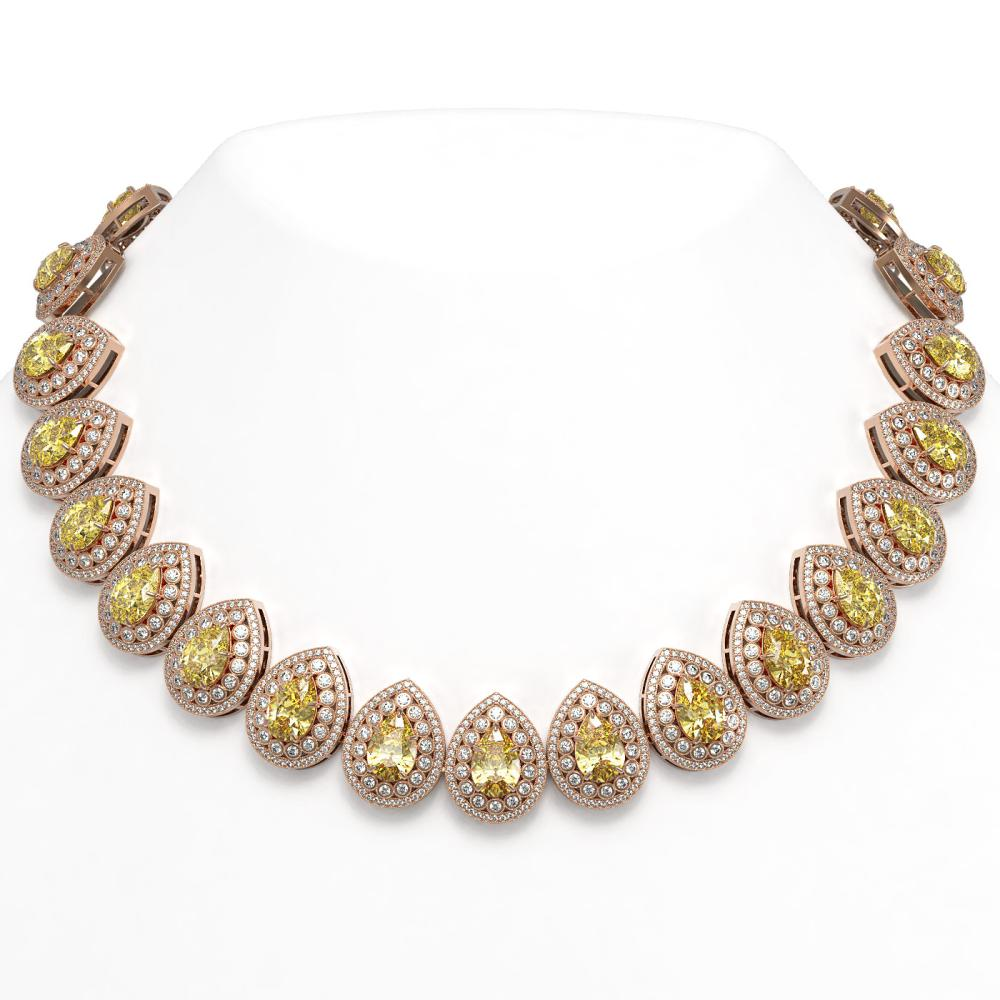 103.62 ctw Canary Citrine & Diamond Necklace 14K Rose Gold - REF-3002F4N - SKU:43242