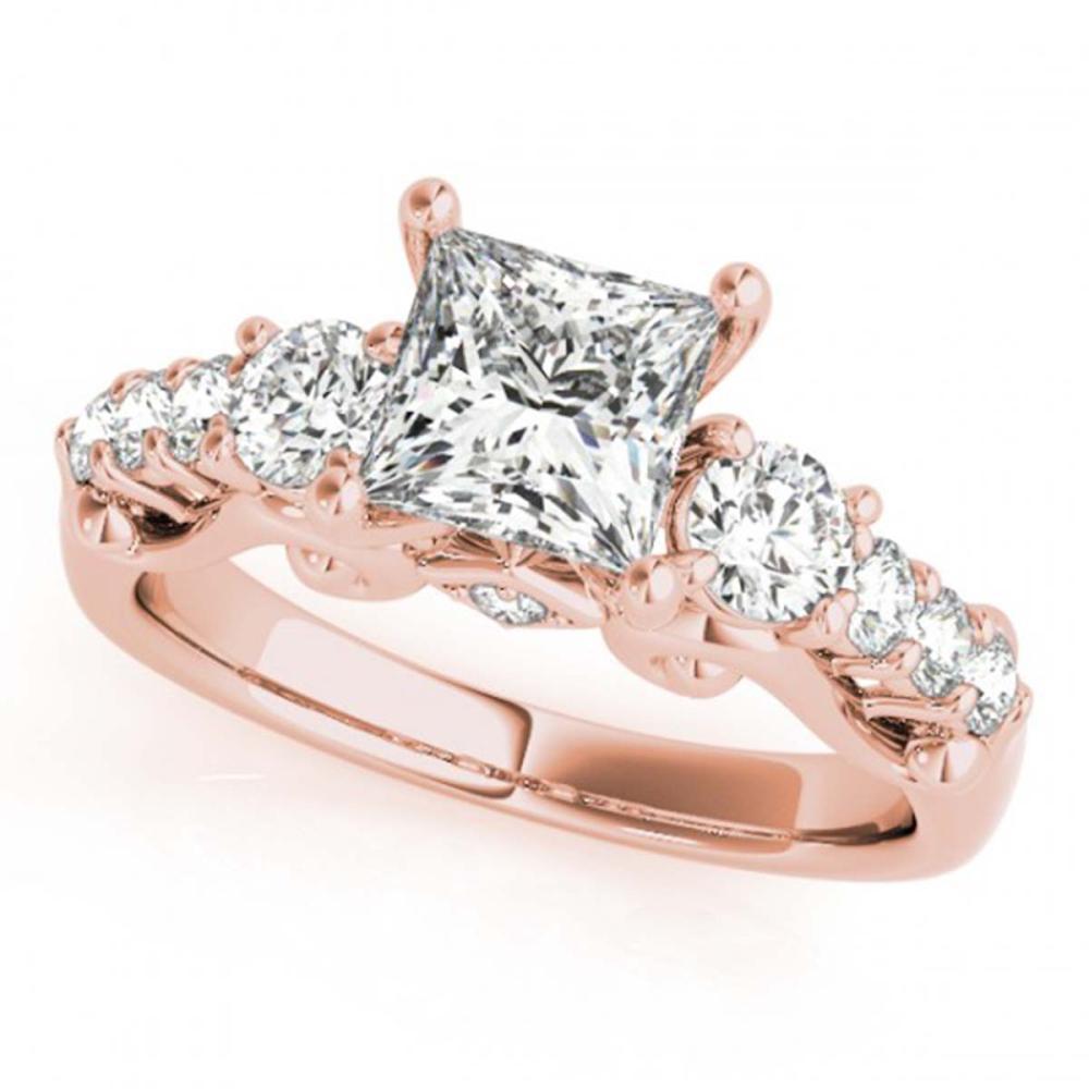 1.50 ctw VS/SI Diamond 3 Stone Princess Cut Ring 18K Rose Gold - REF-219V5Y - SKU:27994