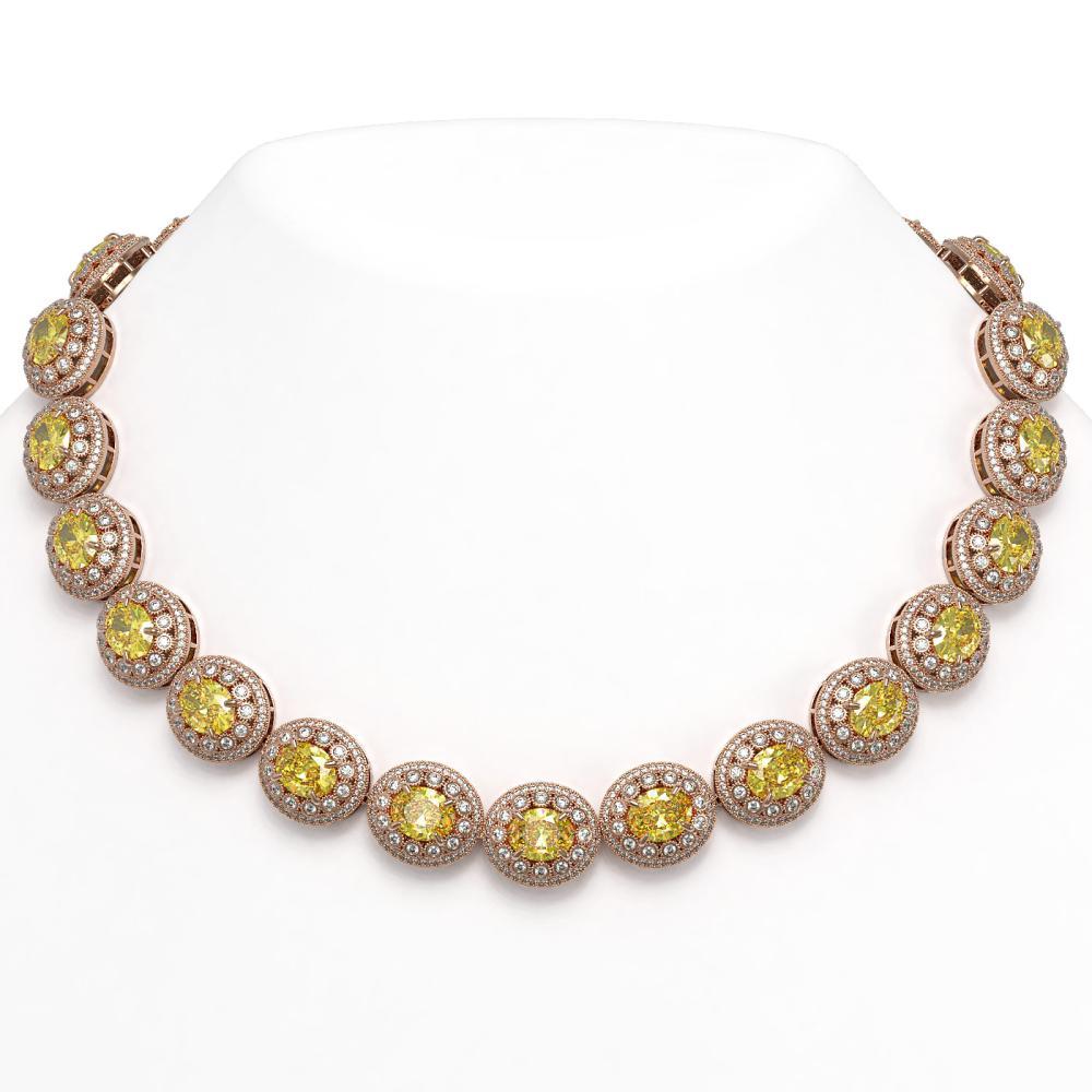 89.35 ctw Canary Citrine & Diamond Necklace 14K Rose Gold - REF-2597M3F - SKU:43698