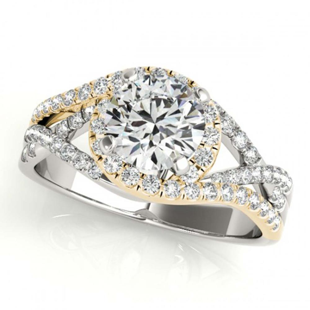 1.50 ctw VS/SI Diamond Solitaire Halo Ring 18K White & Yellow Gold - REF-312N7A - SKU:26614
