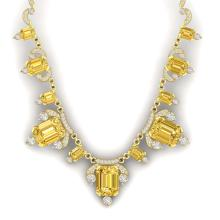 Lot 5199: 71.48 ctw Canary Citrine & VS Diamond Necklace 18K Yellow Gold - REF-963R6K - SKU:38759