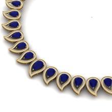 Lot 5004: 33.4 ctw Sapphire & VS Diamond Necklace 18K Yellow Gold - REF-1200Y2X - SKU:39443