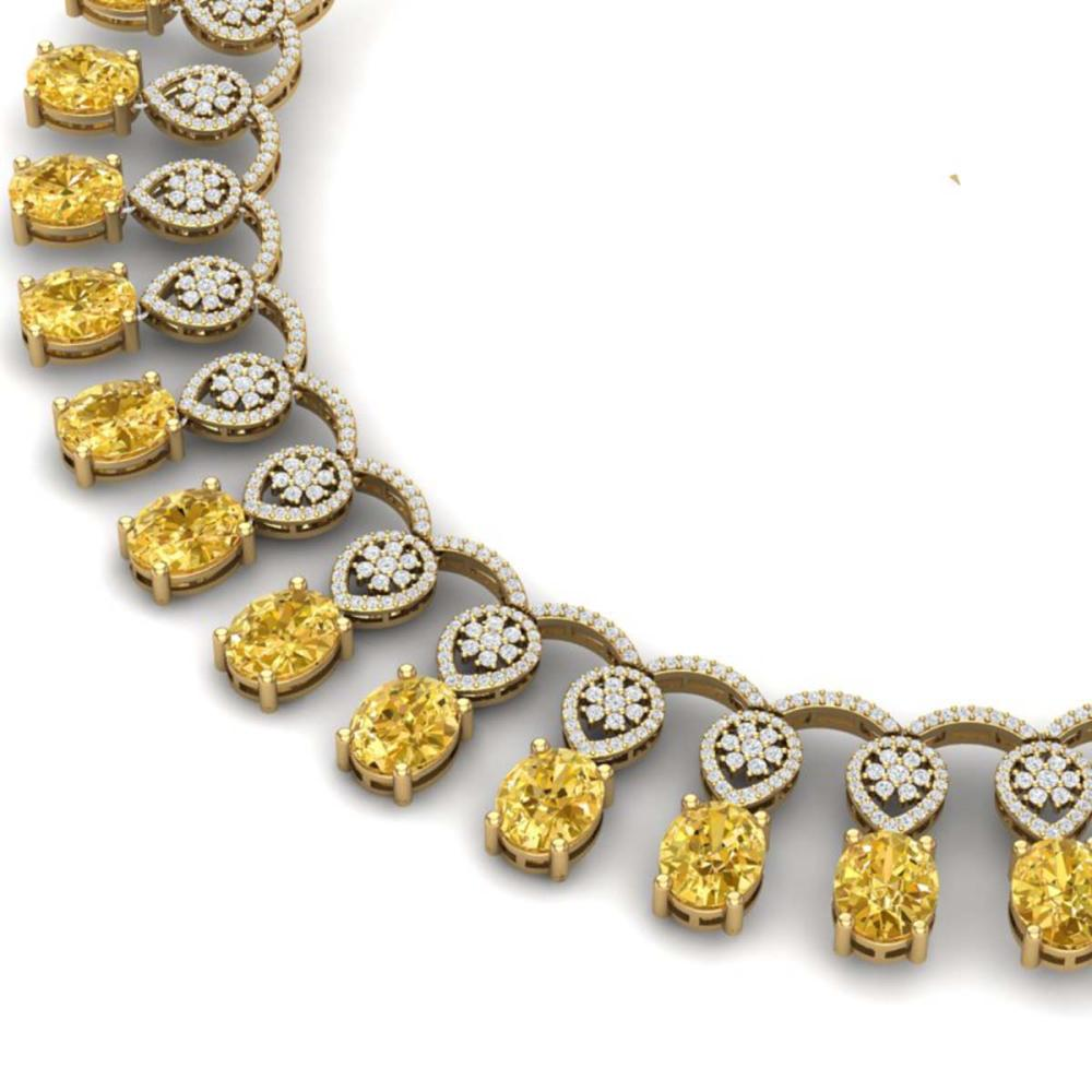 Lot 5003: 51.57 ctw Canary Citrine & VS Diamond Necklace 18K Yellow Gold - REF-927F3N - SKU:39077