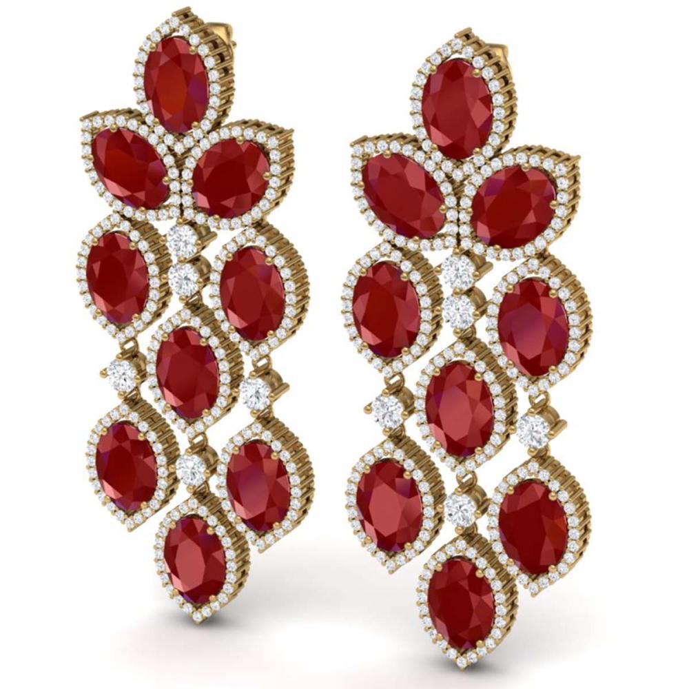 Lot 5001: 26.15 ctw Ruby & VS Diamond Earrings 18K Yellow Gold - REF-500Y2X - SKU:38927