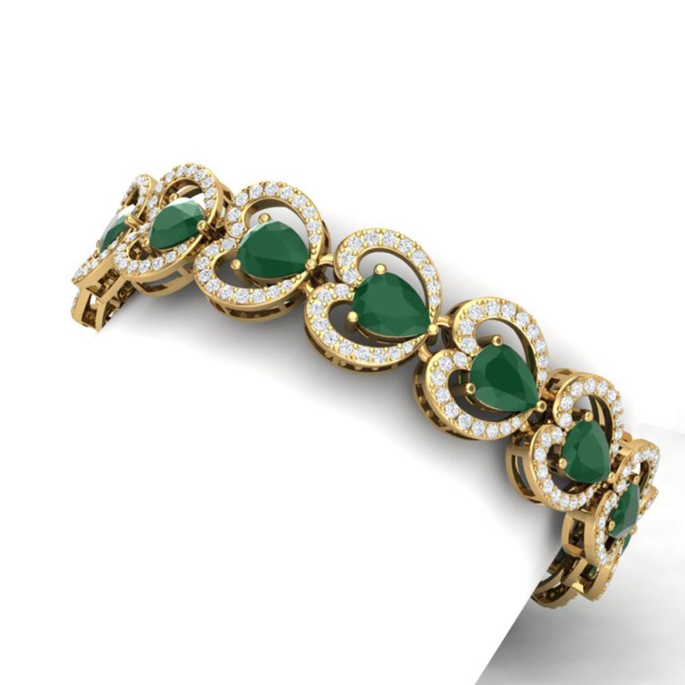 Lot 5012: 32.15 ctw Emerald & VS Diamond Bracelet 18K Yellow Gold - REF-690W9H - SKU:38687