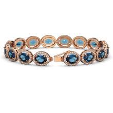 Lot 5014: 29.53 ctw London Topaz & Diamond Halo Bracelet 10K Rose Gold - REF-274W2H - SKU:40734